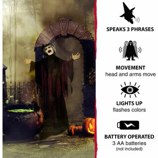 Haunted Hill Farm Life-Size Poseable Animatronic Witch with Light-up Colorful Eyes Ruth