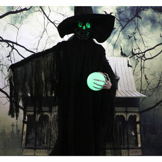 Haunted Hill Farm Life-Size Animatronic Phantom Witch with Multi-Color Crystal Ball and Strobe Light