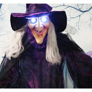 Haunted Hill Farm Life-Size Animatronic Talking Witch w/ Broomstick and Rotating Body