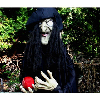 Haunted Hill Farm Life-Size Poseable Animatronic Witch with Flashing Red Eyes Gertrude