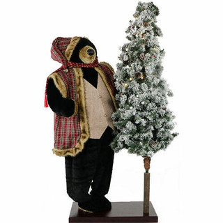 Fraser Hill Farm 60 Life-Size Animated Black Bear with 66 Pre-Lit Flocked Christmas Tree On Base