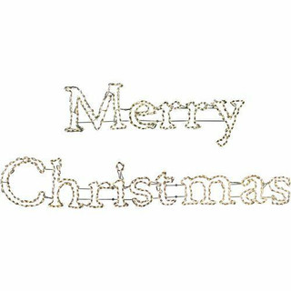 Fraser Hill Farm 2-Piece Merry Christmas Sign in Warm White Christmas Giant Outdoor LED Lights