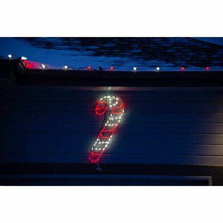 Fraser Hill Farm 3-Ft Tall Candy Cane with Ground Stakes 36H x 15W Christmas Giant Outdoor LED Lights