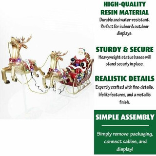Fraser Hill Farm Santa Sleigh and Flying Reindeer 3-Piece Set with Long-Lasting LED Lights, Indoor or Outdoor