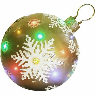 Fraser Hill Farm 18 Jeweled Ball Ornament with Snowflake Design in Gold with Long-Lasting LED Lights, Indoor or Outdoor