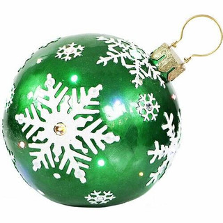 Fraser Hill Farm 18 Jeweled Ball Ornament w/Snowflake Design in Green with Long-Lasting LED Lights, Indoor or Outdoor
