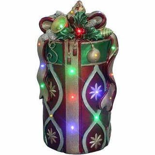 Fraser Hill Farm 26 Tall Round Gift Box with Bow in Red/Gold with Long-Lasting LED Lights, Indoor or Outdoor
