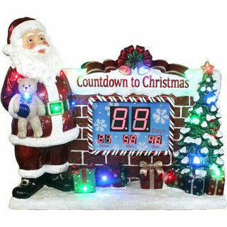 Fraser Hill Farm Musical Countdown Clock with Santa, Tree, and Presents with Long-Lasting LED Lights, Indoor or Outdoor
