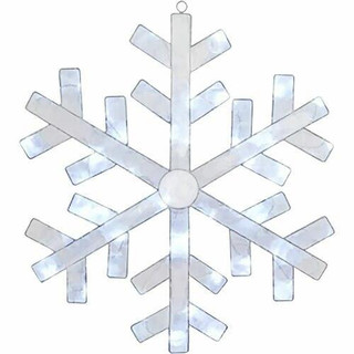 Fraser Hill Farm 24 Pre-Lit Crystal Snowflake with 40 LED Lights and 8 Different Lighting Effects, Indoor/Covered Outdoor
