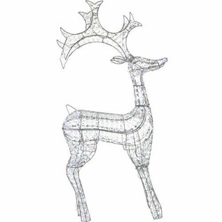 Fraser Hill Farm 61.5 Pre-Lit Crystal Reindeer with 120 LED Lights and 8 Lighting Effects, Indoor/Covered Outdoor