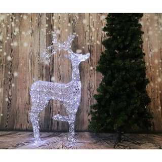 Fraser Hill Farm 53 Pre-Lit Crystal Reindeer with 120 LED Lights and 8 Lighting Effects, Indoor/Covered Outdoor