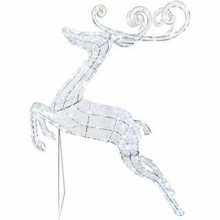 Fraser Hill Farm 57.5 Pre-Lit Crystal Jumping Reindeer with 208 LED Lights and 8 Lighting Effects, Indoor/Covered Outdoor