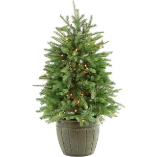 Fraser Hill Farm Potted Pine Tree with Clear Lights 4-Ft