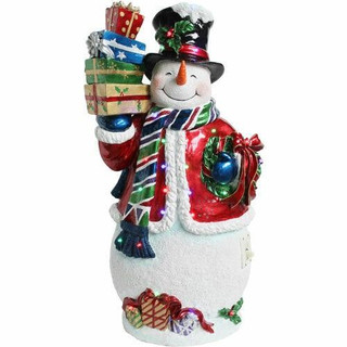 Fraser Hill Farm 2-Ft Musical Resin Snowman with LED Lights, Indoor/Covered Outdoor