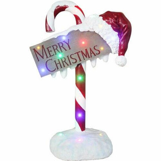 Fraser Hill Farm 3-Ft Resin Candy Cane Sign with LED Lights, Indoor/Covered Outdoor