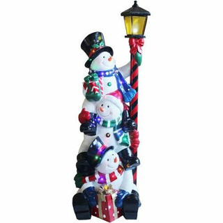 Fraser Hill Farm 4-Ft Resin Musical Stacking Snowman Trio with Lamp Post and LED Lights, Indoor/Covered Outdoor