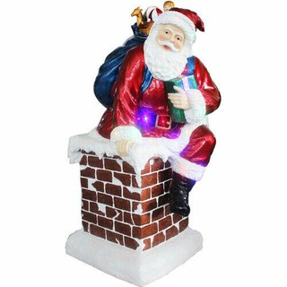 Fraser Hill Farm 4-Ft Resin Musical Santa in the Chimney with LED Lights, Indoor/Covered Outdoor
