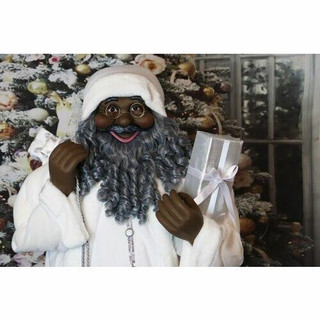 Fraser Hill Farm 5-Ft Life-Size African American Santa Claus Holding Gift and Wearing White Plush Suit with Vest, Indoor Decor
