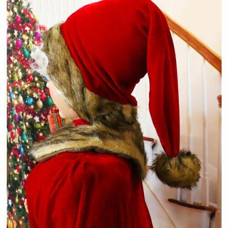 Fraser Hill Farm 5-Ft Life-Size Standing Mrs Claus Holding Gift and Wearing Red Velvet Dress with Fur Trim, Indoor Decor