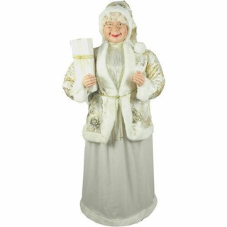 Fraser Hill Farm 5-Ft Life-Size Standing Mrs Claus Holding a Gift and Wearing a Gold Brocade Jacket with Fur Trim, Indoor Decor