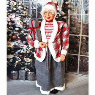 Fraser Hill Farm 5-Ft Life-Size Standing Mrs Claus Holding a Gift and Wearing a Tweed Jacket with White Fur Trim, Indoor Decor
