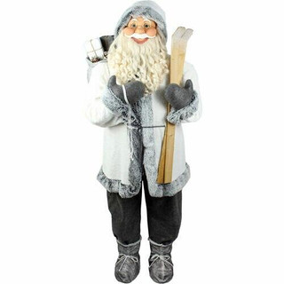 Fraser Hill Farm 5-Ft Life-Size Standing Santa Claus Holding Skis and Wearing a Furry White Jacket with Gray Trim, Indoor Decor