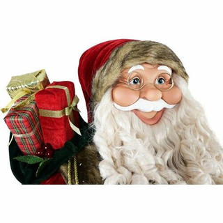 Fraser Hill Farm 5-Ft Life-Size Standing Santa Claus Holding Wreath and Wearing Red Velvet Suit with Fur Trim, Indoor Decor