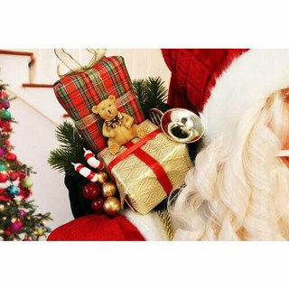 Fraser Hill Farm 5-Ft Life-Size Standing Santa Claus with Tree Wearing Red Velvet Suit with White Fur Trim, Indoor Decor