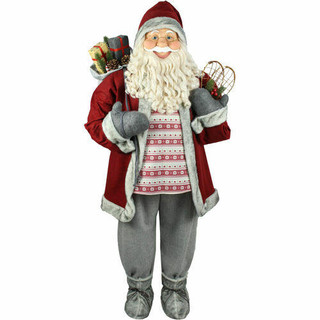 Fraser Hill Farm 5-Ft Life-Size Standing Santa Claus Holding Snowshoes and Wearing a Nordic Sweater, Indoor Decor