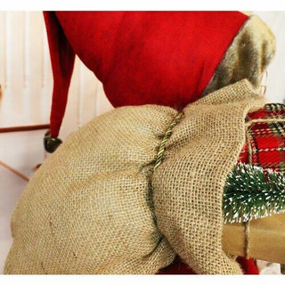 Fraser Hill Farm 5-Ft Life-Size Standing Santa Claus with Scroll, Gift Sack, and Bear, Wearing a Nordic Sweater, Indoor Decor