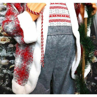 Fraser Hill Farm 5-Ft Life-Size Standing Santa Claus Holding a Staff and Wearing a Tweed Jacket with White Fur Trim, Indoor Decor