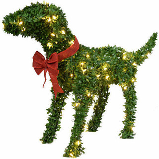 Fraser Hill Farm 28 Boxwood Pup Topiary Statue with Warm White LED Lights