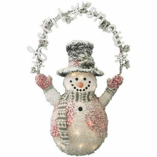 Fraser Hill Farm 3.5-Ft Pre-Lit Plush Snowman with Let it Snow Banner and 35 White LED Lights, Indoor Flocked Tinsel Christmas Decorations