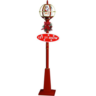 Fraser Hill Farm Let It Snow Series 69 Musical Globe Lamp Post in Red featuring Santa Scene and Snow Function