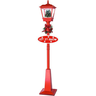 Fraser Hill Farm Let It Snow Series 71 Musical Lantern Lamp Post in Red featuring Christmas Tree Scene and Snow Function