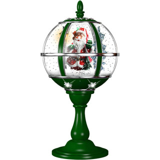 Fraser Hill Farm Let It Snow Series 23 Musical Tabletop Globe in Green featuring Santa Scene and Snow Function