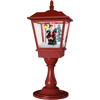 Fraser Hill Farm Let It Snow Series 25 Musical Tabletop Lantern in Red featuring Santa Scene and Snow Function