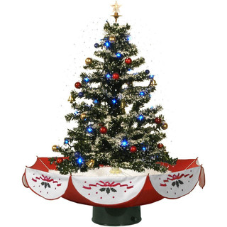 Fraser Hill Farm Let It Snow Series 29 Snowing Musical Christmas Tree with Red Base and Snow Function