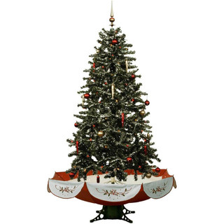 Fraser Hill Farm Let It Snow Series 55 Snowing Musical Christmas Tree with Red Base and Snow Function