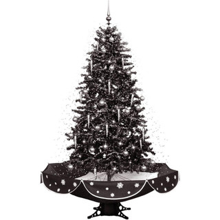 Fraser Hill Farm Let It Snow Series 75 Snowing Musical Christmas Tree in Black and Silver with Snow Function