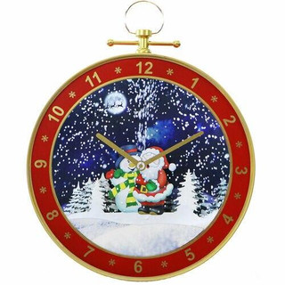 Fraser Hill Farm Let It Snow Series 23 Wall Clock in Red with Santa Scene, Cascading Snow, and Holiday Music