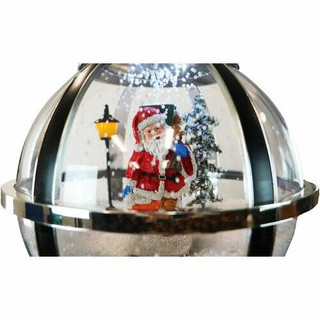 Fraser Hill Farm Let It Snow Series 69 Snow Globe Lamp Post in Black with Santa Scene, 2 Signs, Cascading Snow, and Christmas Carols