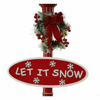 Fraser Hill Farm Let It Snow Series 69 Snow Globe Lamp Post in Red with Santa Scene, 2 Signs, Cascading Snow, and Christmas Carols