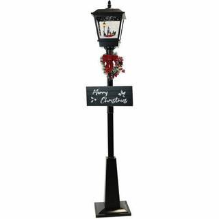 Fraser Hill Farm Let It Snow Series 71 Musical Street Lamp in Black with Car Scene, 2 Signs, Cascading Snow, and Christmas Carols
