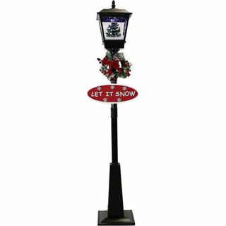 Fraser Hill Farm Let It Snow Series 71 Musical Street Lamp in Black with Christmas Tree Scene, 2 Signs, Cascading Snow, and Holiday Music