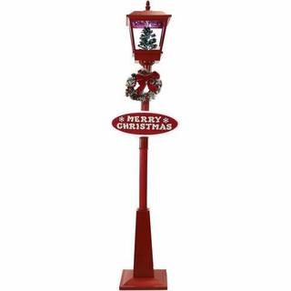 Fraser Hill Farm Let It Snow Series 71 Musical Street Lamp in Red with Christmas Tree Scene, 2 Signs, Cascading Snow, and Holiday Music
