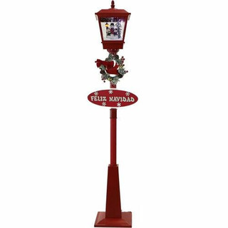 Fraser Hill Farm Let It Snow Series 71 Musical Street Lamp in Red with Snowman Trio Scene, 2 Signs, Cascading Snow, and Christmas Carols