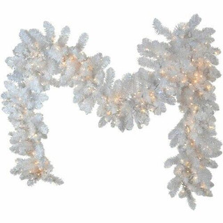 Fraser Hill Farm 9-Ft Icy Fir Garland Christmas Decor with Cool White Twinkle Lights