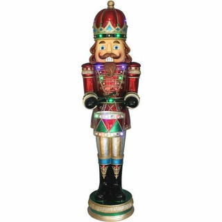 Fraser Hill Farm 5-Ft Life-Size Nutcracker Playing Snare Drum w/Moving Hands, Music, Timer, and 20 LED Lights, Indoor or Outdoor