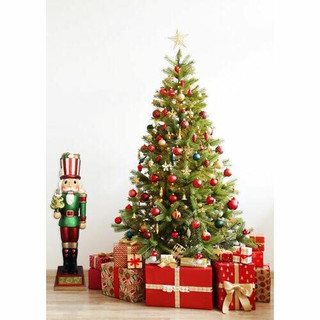 Fraser Hill Farm 4-Ft Life-Size Candy-Look Nutcracker Greeter Holding Tree in Green, Indoor or Outdoor